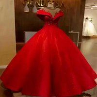 Wholesale blue elegant corset prom dresses resale online - Red Ball Gown Evening Gowns New Elegant Off Shoulder Appliques Beads Corset Puffy Long Formal Prom Dress