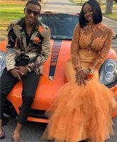 ingrosso arancia arancione abiti donna-2019 Abiti da ballo arancioni Abito da sera Vedi attraverso Increspature in tulle Collo alto Maniche lunghe Abiti da spettacolo per donna Formale Lungo Dolce 16