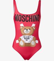 urso vermelho venda por atacado-Moda Um Pedaço Swimwear Backless Swimsuit Mulheres Sexy Biquíni Com Urso Verão Praia Swim Suit Red Preto Tamanho S-XL