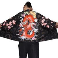 herren kostümhemd großhandel-Yukata Haori Männer japanische Kimono Strickjacke Männer Samurai Kostüm Kleidung Kimono Jacke Herrenhemd Yukata Haori TA001