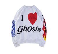 sudadera femenina al por mayor-Kanye West Kids See Ghosts I Feel Ghosts Impreso Pullover Hombres Mujeres Casual Sudaderas Hombre Mujer Hip Hop Diseñador Pullover