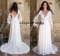 Wholesale wedding dresses beach flowing v neck for sale - Group buy Bell Long Sleeve Wedding Dresses Sexy V neck Cotton Lace Appliques and Flowing Full length Boho Country Beach Wedding Gown Cheap
