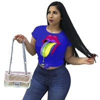 ingrosso tee labbra-Womens Designer T-shirt Colorful Lips Big Eye Stampa T-shirt casual Girocollo Manica corta Caramella Colore Sport Top Tee Streetwear C5603