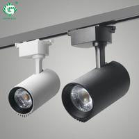 siyah ledli raylar toptan satış-LED Parça Işık 20 W Siyah Cob Parça Işıkları Tavan Lambası Giyim Mağazası Için 200-240 V Ev Gece Aydınlatma Spot Ray Fikstürü Ray Spot