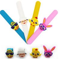ostern armbänder großhandel-Ostern Gummi Slap Armband für Ostern Schmuck Armbänder Slap Bracelets Weichem Kunststoff Cartoon Kinder Schmuck versandkostenfrei
