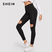 siyah tozlukları kes toptan satış-SHEIN Siyah Sporting Cut-out Kontrast Dantel Sıska Yüksek Bel Rahat Tayt Kadın Sonbahar 2019 Athleisure Sıkı Tayt