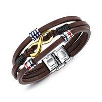 мужские браслеты оптовых-Личность модных трендовых аксессуаров винтаж коричневого цвета из титановой стали мужской многослойный кожаный браслет кожаный браслет для отправки ее бойфренда