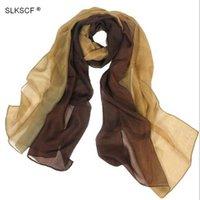 швартовный платок оптовых-[SLKSCF] 180X68CM Якорь подвеска 100% шелковый шарф обруча платок хиджаб градиент цвета Длинные шарфы и шали способа мусульманские шарфы