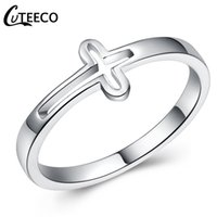 Wholesale side crosses for jewelry for sale - Group buy CUTEECO New Silver Color Hollow Cross Finger Rings for Women European Personality Fashion Femme Ring Jewelry