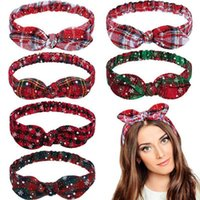 Wholesale bunny bows resale online - Women Girls Christmas Headband Plaid Snowflower Elastic Bow Hairband Bunny Ears Heaband Christmas Hair Accessories HHA996