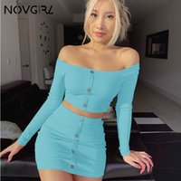 neonknöpfe großhandel-Damen Sets Fashion Buttons Langarm Crop Top Minirock Sexy Club Neon Grün Overalls Zweiteiler Outfits Party