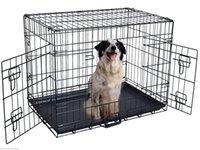 ingrosso giocattoli per animali da compagnia-42 '' 2 porte Wire Folding Pet Crate Dog Cat Cage Valigia Kennel Box w / Tray
