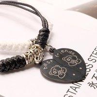 ingrosso gioielli in titanio orso-designer gioielli paio bracciali cuore orso migliori amici bracciali ciondolo in titanio acciaio tessitura per coppia moda calda