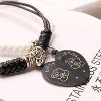 joyas de titanio oso al por mayor-Diseñador de joyas pulseras de pareja corazón oso mejores amigos titanio acero colgante pulseras que tejen para pareja moda caliente