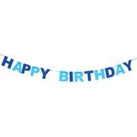 geburtstag hängende fahnen großhandel-Dekoration hängen HAPPY BIRTHDAY Vlies Wimpel Fahnen Girlande Girlande Party Home Hanging Decor (blau) dekorativ dekorativ