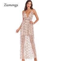 ingrosso donne oro di abbigliamento-Ziamonga 2019 Summer Women Dress Vintage Apparel Sexy Paillettes Nappa Beach Party Club Wear Maxi Long Abiti oro paillettes Robe