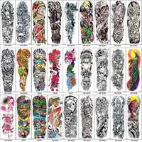 tatuaje de peonias al por mayor-Brazo completo Mangas temporales del tatuaje Pavo real peonía dragón cráneo Diseños Impermeables Hombres frescos Mujeres Tatuajes Pegatinas Arte de cuerpo pinturas
