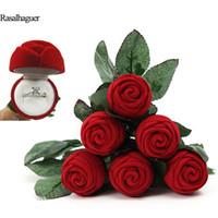 exposição de jóias venda por atacado-New Rose Forma de Casamento Anel de Caixa De Armazenamento De Jóias Organizador Presente Embalagem Presente Titular Exibição de Jóias Brinco Show Stand