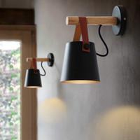 siyah duvar aydınlatma armatürü toptan satış-Oturma Odası Duvar Aplikleri için LED Duvar Lambaları Abajur Işık E27 Nordic Ahşap kemer Duvar Işık Beyaz / Siyah Destek Bırak Shipping-Le1