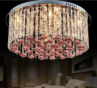 Wholesale romantic bedroom ceiling lights for sale - Group buy New Modern Crystal Living Room Lights Romantic Warm Bedroom Lights LED Restaurant Flower ceiling lamps LLFA