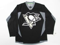 maillot de practica de hockey negro al por mayor-Barato personalizado PITTSBURGH PENGUINES NEGRO PRACTICA HOCKEY JERSEY punto añadir cualquier número cualquier nombre Mens Hockey Jersey XS-6XL