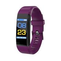 Wholesale digital health bracelet for sale - Group buy 115Plus Bluetooth USB Fitness Bracelet Health Tracker inch Color Screen Heart Rate Monitor Digital Watch Sport Wristband