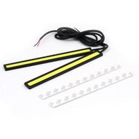 gelbe led-lichtleiste großhandel-2X12 V Super Helles Weiß 6 Watt COB LED DRL Fahren Tagfahrlicht lampe Aluminium Chip Bar Panel Kostenloser Versand