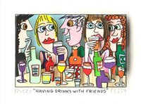 Wholesale d pictures resale online - James Rizzi HAVING DRINKS WITH FRIENDS Home Decor Handpainted Oil Painting On Canvas Wall Art Canvas Pictures