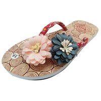 Wholesale lady slipper flowers resale online - Summer New Women s Flat Slippers Ladies Casual Non Slip Flower Flip Flops Sandals Flat Beach Slippers Shoes Women