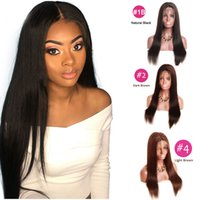 Wholesale long hair black silky women resale online - raw virgin indian hair lace frontal wig pre plucked with baby hair straight lace front human hair wigs for black women