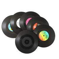 impression de vinyle achat en gros de-6pcs / set CD Tapis Rétro Disque Vinyle Boissons Dessous De Verre Table Tasse De Café Café Napperon En Silicone Imprimé Motif Anti-fade Home Decor
