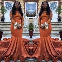 kızlar için dantel portakal elbisesi toptan satış-Afrika Siyah Kızlar Uzun Kollu Mermaid Gelinlik Modelleri 2019 Toz Turuncu Dantel Elastik Saten Balo Abiye BC0985