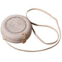 мини белые сумочки оптовых-Белая полая сумка из ротанга Бали Чешская женская винтажная соломенная пляжная сумка Мини Круглая сумка через плечо Сумки ручной работы
