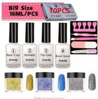 готовые гвозди оптовых-7-in-one High Gloss Finish Set Dipping Powder Nails 10g/pcs Dipping Powder 16ml Nail Polish Kit Dip For Nail Salon