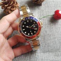 mens relógios de imitação de aço inoxidável venda por atacado-New Gent's GMT 2 relógios automáticos de vento de quartzo Stainless Steel Dive relógios de mensageiro de prata pretos de mestre 44mm