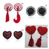 Wholesale black toy chest resale online - Heart Round Shape Lace Nipple Stickers With Tassels Sexy Sequin Nipple Covers Adult Toy Chest Stickers Pasties Product Hot