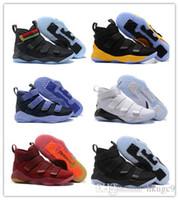 new concept a72b2 92b77 2018 nouvelles chaussures de basketball James Soldier XI 11 bleu marine  hommes LeBron Soldier XI 11 baskets de sport noir   rouge   blanc