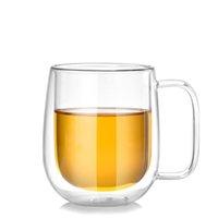 çift katmanlı cam kupa toptan satış-250 ML Isıya Dayanıklı Çift Duvar Katmanlı Cam Çay Kahve Suyu Kupa Su Şarap Galsses Kolu Ile İçecek Kupası