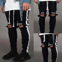 erkekler rahat beyaz kot pantolon toptan satış-Erkek Kot Pantolon Casual Skinny Beyaz Yan Jeans Hip Hop Kırık Fermuar Nightclub Pantolon Sokak Stili Siyah ve Beyaz