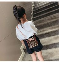 Wholesale baby drawstring bag resale online - Newest Korean letter printed baby girls retro fashion retro bucket bag with drawstring decoration messenger bag