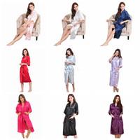 белые свадебные ремешки оптовых-9colors Женщины Silk Robe Твердая Свадебное платье невесты Невеста кимоно Длинные Пижама летняя ночь Lady Sleepwear LJJA2508-10