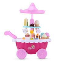 luzes de gelado venda por atacado-Jogar doméstico Conjunto Candy Ice Cream Cart Cozinha Brinquedos Com Luzes Piscando e Música Panelas Coloridas Pretend Play Set Equipado