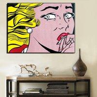 ingrosso ritratto di ragazze di pittura a olio-Roy Lichtenstein Crying Girl, dipinto a mano di alta qualità HD Print Portrait Wall Art Dipinto ad olio su tela Home Decor Mulit taglie Opzioni Ry6