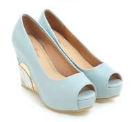ingrosso cunei in pattino ad alta scarpa blu-Nuovo 2019 tacco a spillo scarpe da sposa sposa blu tacco a spillo piattaforma tacco alto scarpe damigelle 2 colori taglia 34-39