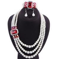 ensembles de bijoux de perles indiennes achat en gros de-Marque Replica Indien Perle Bijoux Schmuck Ensemble Dubai Cadeau Mariage Ensemble Collier Bracelet Broche Boucles D'oreilles Aucune Commande Minimum