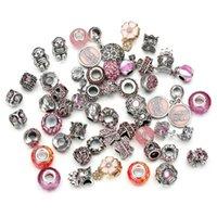 cuentas de vidrio de murano diy al por mayor-Mezcla al por mayor 50pcs / set joyería de alta calidad de plata del encanto del grano de cristal de Murano Beads Fit Pandora pulsera DIY