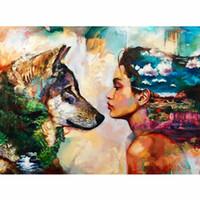 rahmen wolf bild großhandel-CHUNXIA Gerahmte DIY Malen Nach Zahlen Tiere Wolf Acrylgemälde Moderne Bild Wohnkultur Für Wohnzimmer 40x50 cm RA3412