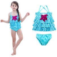 traje de baño sirena niño al por mayor-Sirena Starfish Girl traje de baño Lattice Halter Split Kid traje de baño azul de alta calidad suave playa traje de baño caliente venta 30bjD1