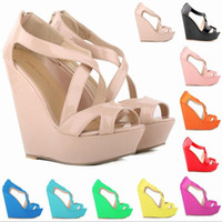 Wholesale 14cm wedges resale online - Fashion designer women s sandals Thick bottom Wedge high heels cm Solid color Patent leather Waterproof platform Fish mouth shoes