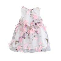 drei süße mädchen großhandel-Kinder Sommer Baby Mädchen Nette Süße Fee Schmetterling Druck Dreidimensionale Blütenblatt Garn Weste Kleid 1-6Y Kleinkind Mädchen Kleid